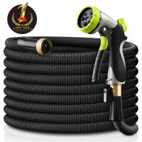TopSource Expandable Garden Hose with Double Latex Core and 8 Function Spray Nozzle, Black 50FT (75FT 100FT)